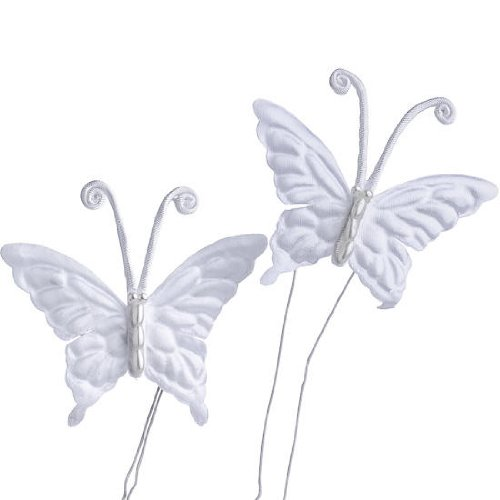 - Inspired By Nature Package of 36 White Satin and Beaded Body Butterflies on Wire for Embellishing and Crafting