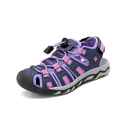 Hiking Girls Shoes - DREAM PAIRS Little Kid 160912-K Purple Light Grey Outdoor Summer Sandals Size 1 M US Little Kid