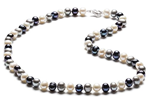 SilverLuxe Sterling Silver Genuine Freshwater Pearl Necklace 6-7mm Greys 18""