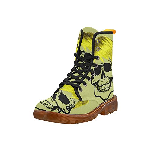 LEINTEREST funny skull, yellow Martin Boots Fashion Shoes For Women