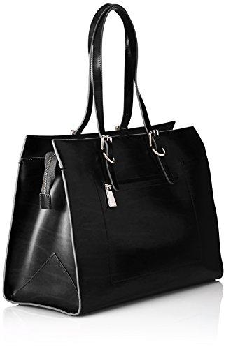 APART Fashion Apart Ledertasche 64181 Damen Henkeltaschen 38x28x17 cm (B x H x T) Schwarz (Schwarz) 6jV3W