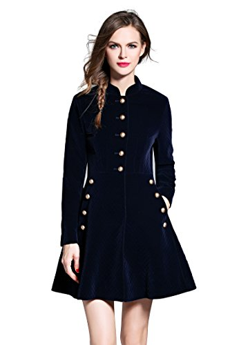 Women's Slim Button Front Coat Corduroy Swing A-line Party Evening Cocktail Dress, Navy L
