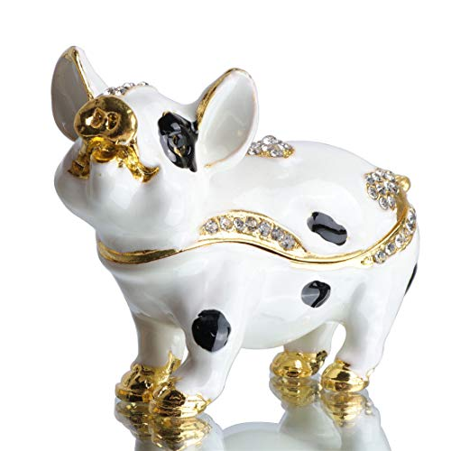 Waltz&F Lovely Pig Figurine Collectible Hinged Trinket Box Bejeweled Animal Hand-Painted Ring Holder