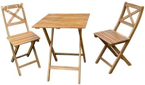 SAM® Conjunto para jardín de Color Natural, Mueble de Madera de Acacia, 3 Piezas, 1 Mesa + 2 sillas, Plegables y aceitadas: Amazon.es: Jardín
