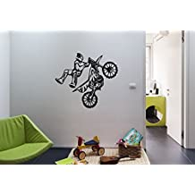 Motorcyclist Motorcycle Jumping Racer Rally Kids Room Children Stylish Wall Art Sticker Decal G9514