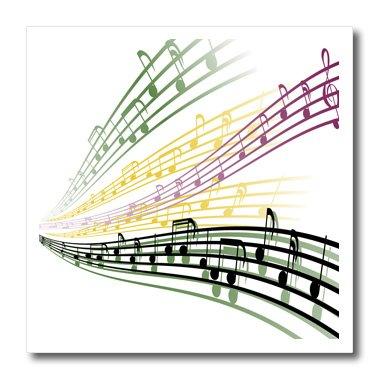 3dRose ht_115364_2 カラフル 音符 ミュージシャン 音楽 愛好家 デザイン - アイロン熱転写素材、15.24x15.24cm、白   B00DRT2BGC