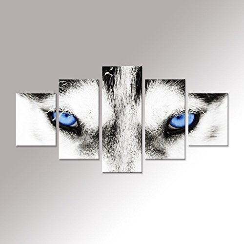 Hello Artwork - Canvas Wall Art Black and White Wolf Dog With Blue Eyes Poster Animal Face Head Series 5 Pieces Abstrect Picture Painting Home Decor Wall Art by Hello Artwork