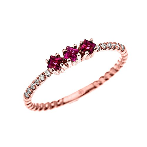 14k Rose Gold Three Stone Princess Cut Ruby and Diamond Dainty Rope Design Ring