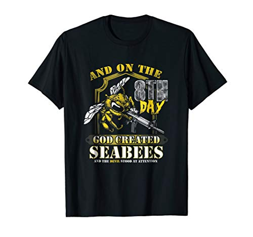 - Mens On the 8th Day God Created the Seabees T-Shirt XL Black