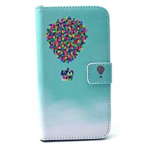 qyf Flying Balloon House Pattern PU Leather Full Body Case with Stand and Card Holder for Samsung Galaxy S6 Edge