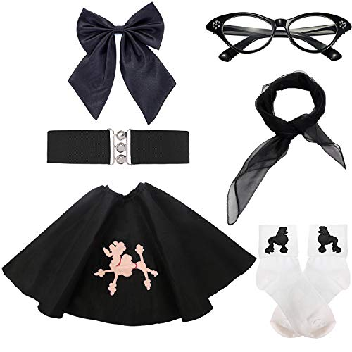 (50s Girls Costume Accessory Set - Poodle Skirt,Elastic Cinch Belt,Ponytail Holders,Chiffon Scarf,Cat Eye Glasses,Bobby Socks (OneSize,)