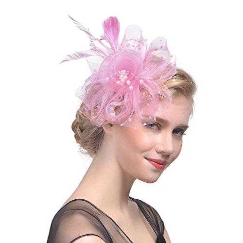 Party Hat For Women,Caopixx Ladies Flower Mesh Ribbons Feathers Headband Cocktail Tea Wedding Headwear (Pink) ()