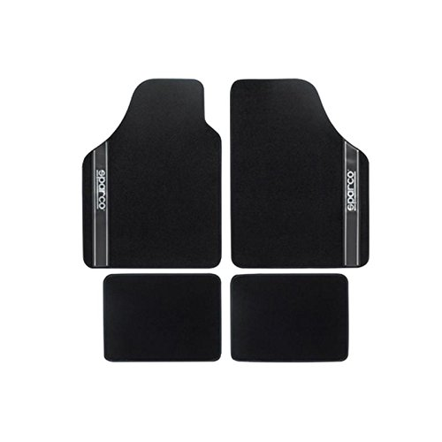 (Sparco 03763BNR Set of 4 Universal Rugs in Black)