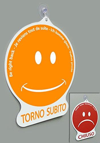 Cartel Torno Subito/Cerrado Emoticon para tienda Vitrina ...