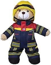 Simba 108101001 - Brandweer pluche beer Rosenbauer, knuffelzacht, 30 cm, in brandweerpak, geschikt voor kinderen vanaf de eerste levensmaanden