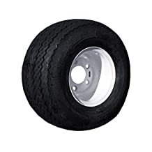 EZGO 18x8.50-8 4 Ply Sawtooth Link Tire with 5-Bolt White Steel Wheel Assembly