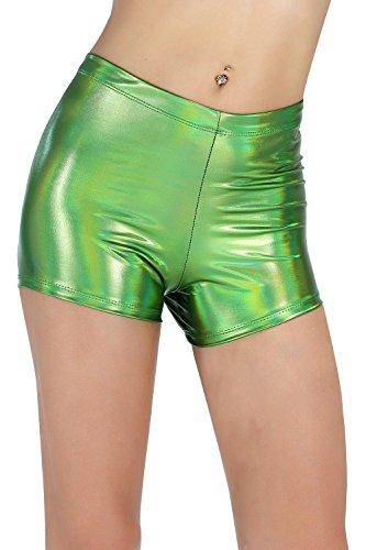BLACK JACKY Women's Shiny Metallic Rave Booty Shorts Hot Pants (S, Multicolor Lime)