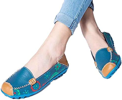 Fheaven New Women Leather Shoes Loafers Soft Leisure Flats Female Casual Shoes Boat Shoes Flats (US:9.5, Blue)