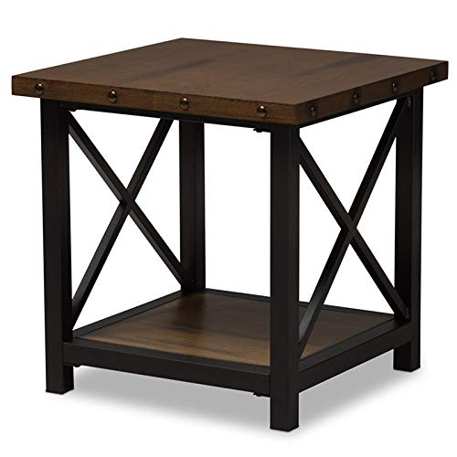 - Baxton Studio End Table in Brown and Black