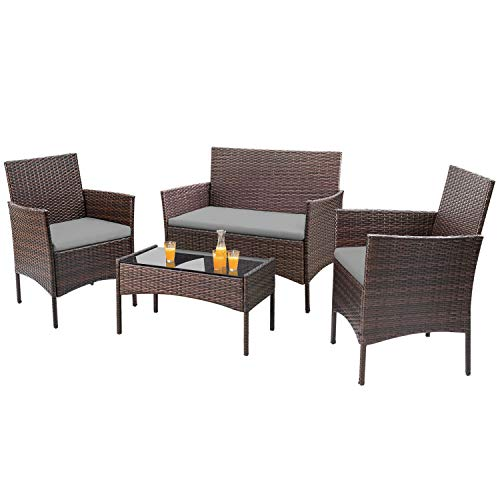 Homall 4 Pieces Outdoor Patio Furniture Sets Rattan Chair Wicker Set, Outdoor Indoor Use Backyard Porch Garden Poolside Balcony Furniture Sets (Gray) (Cushions On Wicker Sale)