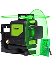 Huepar Green Self-Leveling Laser Level 2X 360-Degree Cross Line Laser Level with Pulse Mode, Switchable Horizontal and Vertical Green Beam Laser Tool, Magnetic Pivoting Base Included (902CG)