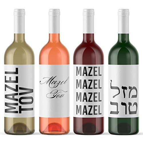 Mazel Tov Wine Labels Hebrew Jewish Wine Bottle Labels | 4 Pack Peel & Stick Wine Stickers For Baby Naming Bris Bar Bat Mitzvah Jewish Wedding Judaica | Made in USA Congratulations Congrats (Bar Mitzvah Congratulations)