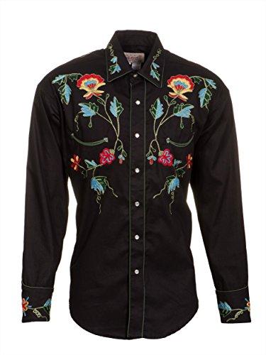 Rockmount Mens Black 100% Cotton L/S Western Shirt Multi Floral Gabardine L - Gabardine Western Shirt