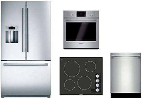 4 Piece Stainless Steel Kitchen Package With B21CL81SNS 36 French Door Refrigerator NEM5466UC 24 Gas Cooktop HBN5451UC 27 Single Wall Oven and SHXN8U55UC 24 Built In Dishwasher