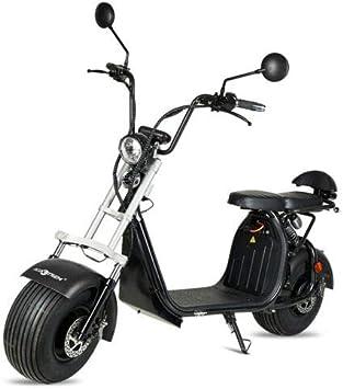 VIRTUE Moto electrica Scooter matriculable de 1500w bateria Extraible de 20Ah 60v Patinete Patin Bici Bicicleta Motor Chopper City Coco Negra Legal en Ciudad