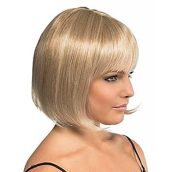 ligaosheng Pelucas sintéticas Recto Corte Bob con Flequillo Marrón Mujer Sin Tapa Peluca Natural Media Pelo