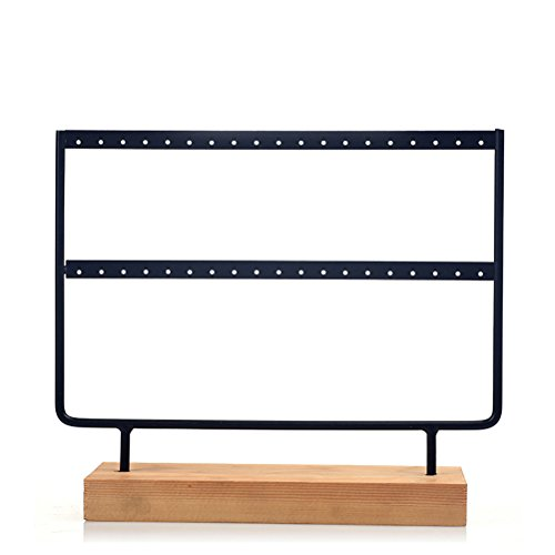 JOLY Black Metal Jewelry Earring Holder / Organizer / Stand / Display with Wooden Base (L, - Earring Shape Display Tree Stand