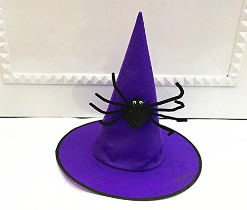 Showking Creative Party Hat High Top Wizard Hat with Big Spider for Celebrating Halloween_Purple
