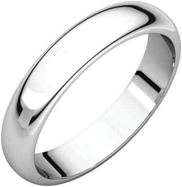 Platinum 4mm Half Round Band, Ring Size 5.5