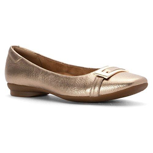 CLARKS Womens Candra Glare Flat Gold Metallic Leather