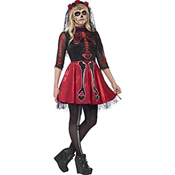 Teen /& Older Girls Red Skeleton Halloween Fancy Dress Costume Outfit 12-16yrs