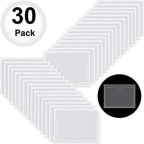 30-Pack Self-Adhesive Index Card Pockets with Top Open for Loading - Ideal Card Holder for Organizing and Protecting Your Index Cards - Crystal Clear Plastic, 3.6 x 4.8 Inches