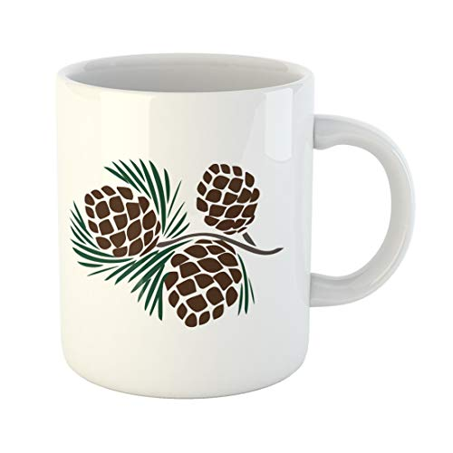Semtomn Funny Coffee Mug Cone Pinecones on Pine Branch Isolated Cedar Tree Vector Silhouette 11 Oz Ceramic Coffee Mugs Tea Cup Best Gift Or Souvenir