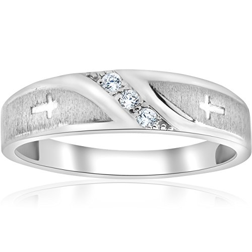 1/10 ct Mens Diamond Cross Wedding Anniversary Ring 10K White (Mens Diamond Cross Ring)