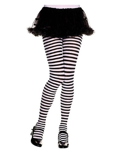 Girls Black and White Striped Tights S (Kids Black And White Striped Tights)