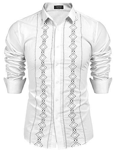COOFANDY Men's Casual Cotton Linen Button Down Shirt Long Sleeve Embroidered Guayabera Cuban -