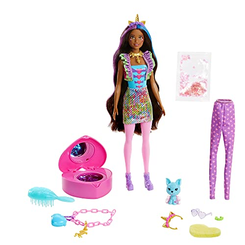 Barbie Color Reveal Peel Unicorn Fashion Reveal Doll Set with 25 Surprises Including Pink Peel-able Doll & Pet & 16 Mystery Bags with Clothes & Accessories for 2 Unicorn-Inspired Looks