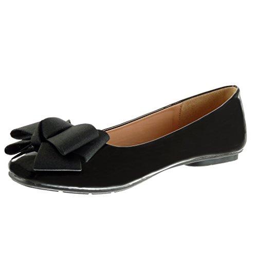 Node Patent Flat Ballet cm Flat 1 Shoes Knot Heel Fashion Slip Shoes Angkorly Women's Black on qvzARR