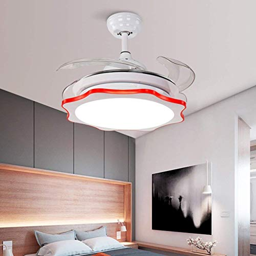 (ChuanHan Ceiling Fan Light Chandelier Lightings Cute Stealth with Four Colors Optional Quiet Motor 24W Ceiling Fan Chandelier Lamp Red Wall Control)