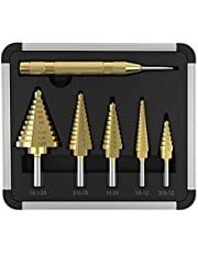 Hotbestus 6 PCS HSS Cobalt Titanium Step Drill Bit Set Tools with Aluminum Case, Spiral Grooved Drill Bit & Automatic Center Punch (6 pcs)