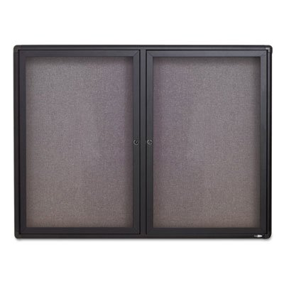 Enclosed Bulletin Acco Board (Quartet Enclosed Fabric Bulletin Board, 4 x 3 Feet, 2 Doors, Black Frame with Gray Fabric (2364L))