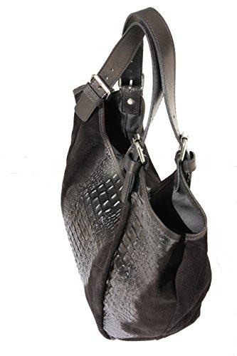 Schultertasche Henkeltasche Handtaschen Beuteltasche Shopper schwarz kroko/Wildleder