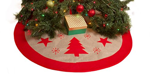 "36"" Burlap Christmas Tree Skirt - Xmas Tree Skirt - Red Border Burlap Tree Skirt (Stars & Trees)"