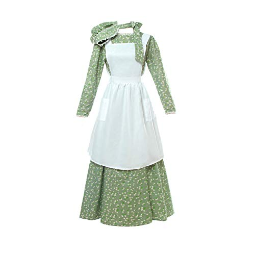 NSPSTT Women American Pioneer Colonial Dress Costume Girls Prairie Dress Civil War Floral Dress]()