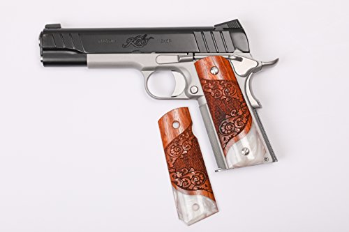 1911 Custom Grips Exotic Hardwood & Simulated Pearl Scroll - Scroll Pearl Design