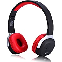 Bluetooth Headphones On Ear Foldable V4.1 Stereo Sport Headset with Pedometer Voice Control Hands Free Calling for Apple iPhone and Android Smartphones (Red)